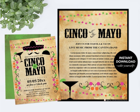 Editable Text Cinco De Mayo Invitation With Free Flyer Fiesta Birthday Party Invite Instant Download Mexican Theme PDF