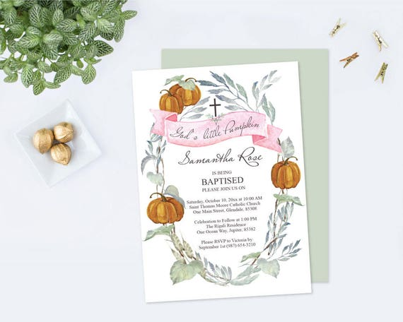 Baptism Invitation Girl Fall Pumpkin Girl Baptism Invitation