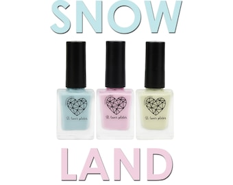 3pcs set - stamping polish for nail art stamping plates cream finish winter pastel blue pink beige - Snowland Collection