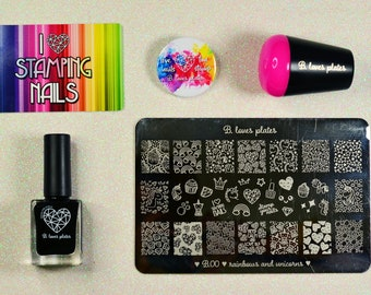 MAXI STAMPING SET with stamping plate, stamping polish, stamper and scrapers nail art tool