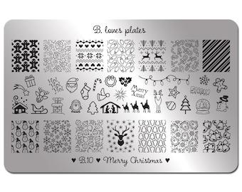 B.10 - nail art stamping nails holiday festive - Merry Christmas