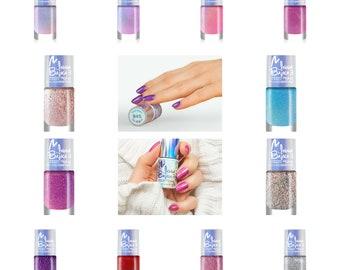 12pcs nail polish set Maga Inna Bajka 3 Collection glitter shimmer unicorn rainbow holographic indie shiny