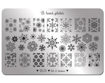 B.05 - nail art stamping plate winter snowflake nails - let it snow