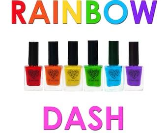6pcs set - nail stamping polish for nail art stamping plates cream finish red orange yellow green blue purple - Rainbow Dash Collection