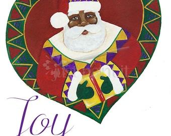 African American Santa Christmas Instant Download Printable Card
