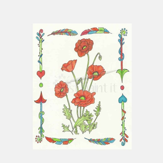Poppy Coloring Page Instant Download Poppies Flower Coloring Etsy