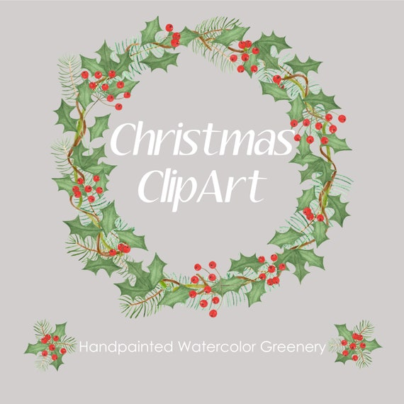 Christmas Greenery Images.Christmas Greenery Watercolor Clipart