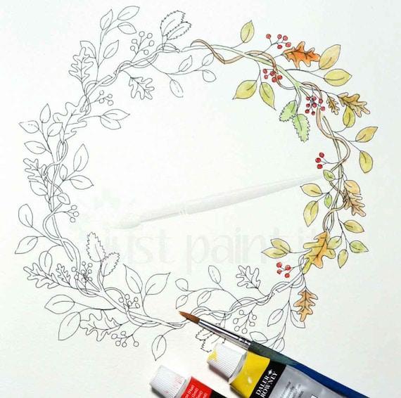 Caída mezclado hojas corona para colorear página caída instantánea ...
