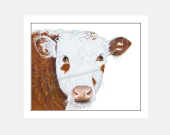 Cow Painting Hereford Cow Art Print Instant Download