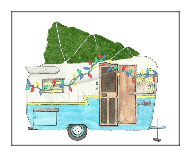 Vintage Camping Trailer Printable Christmas Card