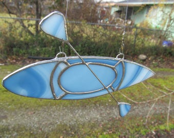 Stained Glass Suncatcher, Blue and White Kayak, Water Sports,  Cabin Decor, RV Decor,