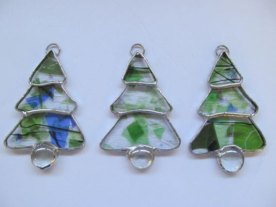 Set Of 3 Christmas Tree Ornaments Stained Glass Ornaments Etsy