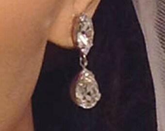 Bridal Earrings  ~ Rhinestone Earrings ~ Vintage Bridal  ~  Swarovski Crystal Earrings  ~ Marquise ~ Dangle Earrings ~  Headpiece Heaven