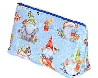 Gnome Cosmetic Bag, Cosmetic Bag, Zipper Cosmetic Case,  Makeup Bag, Flat Bottom Cosmetic Bag