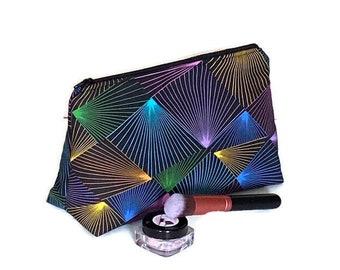 Prism Cosmetic Bag, Fall Makeup Bag, Flat Bottom Cosmetic Bag, Triangle Cosmetic Bag