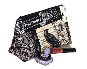 Raven Cosmetic Bag, Nevermore Makeup Bag, Flat Bottom Cosmetic Bag, Gothic Cosmetic Bag