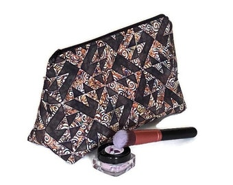 Brown Paradox Triangle Cosmetic Bag, Fall Makeup Bag, Flat Bottom Cosmetic Bag, Triangle Cosmetic Bag