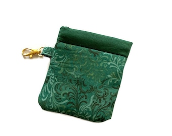 Snappy Earbud Case, Green Batik Earbud Case, Phone Charger Case, Earbud Pouch, Padded Earbud Pouch, Gift Card Holder