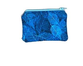 Blue Batik Coin Purse, Earbud Case, Mini Wallet, Credit Card Holder, Gift Card Holder, Stocking Stuffer, 3X5 Coin Purse