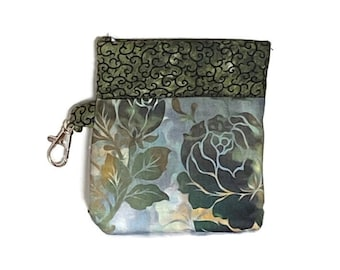 Snappy Earbud Case, Green Floral Earbud Case, Phone Charger Case, Earbud Pouch, Padded Earbud Pouch, Gift Card Holder