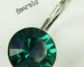 406 Simply Elegant, May birthstone earrings Emerald, Nickel Free hypoallergenic, bridal gifts, boutique shopping, Swarovski element crystal