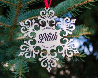 Baby's first Christmas ornament - snowflake design - personalized wood laser ornament with name, ready to hang