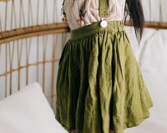 Linen Girl Skirt, Suspender Skirt, Twirl Skirt