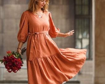 Linen Women Dress, Puff Sleeve Dress, Fall Dress, Washed Linen Dress, Linen Wedding Dress, Bridesmaid Dress, Midi Dress, V-neck Dress