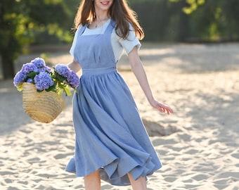 Linen Women Pinafore Dress, Apron Dress, Summer Linen Dress with Pockets, Midi Dress, Vintage Style, Cross Back Dress