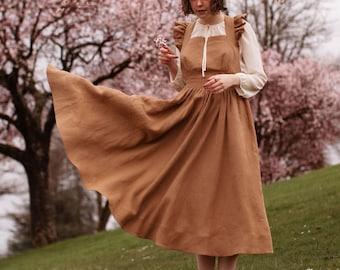 Vintage Style Linen Dress, Linen Pinafore, Petite Cross Back Dress, Summer Linen Dress with Pockets, Apron Dress, Midi Dress, Linen Sundress