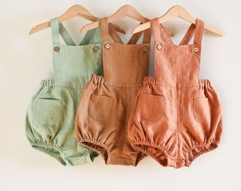 Linen Baby Romper, Boy Romper, 1st Birthday Outfit, Toddler Romper, Baby Jumper, Linen Playsuit, Baby Girl Clothes, Gender Neutral Romperrr