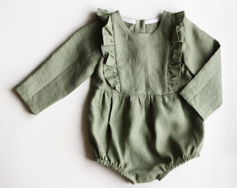 Sage Green Linen Romper, Ruffled Romper for Babies and Toddlers, First Birthday Baby Outfit, Infant Clothing, Baby Girl Rompers