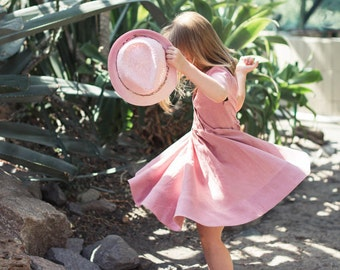 Linen Dress, Linen Dress Girls, Peter Pan Collar, Blush Pink, Summer Dress, Flower Girl Dress, Twirl Dress, Toddler Linen Dress, Girls Dress