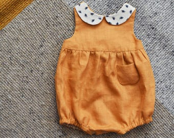 Linen Romper, Baby Romper, Linen Baby Romper, Baby Girl Romper, Peter Pan Collar, Newborn Romper, Mustard Linen Romper, Baby Clothes