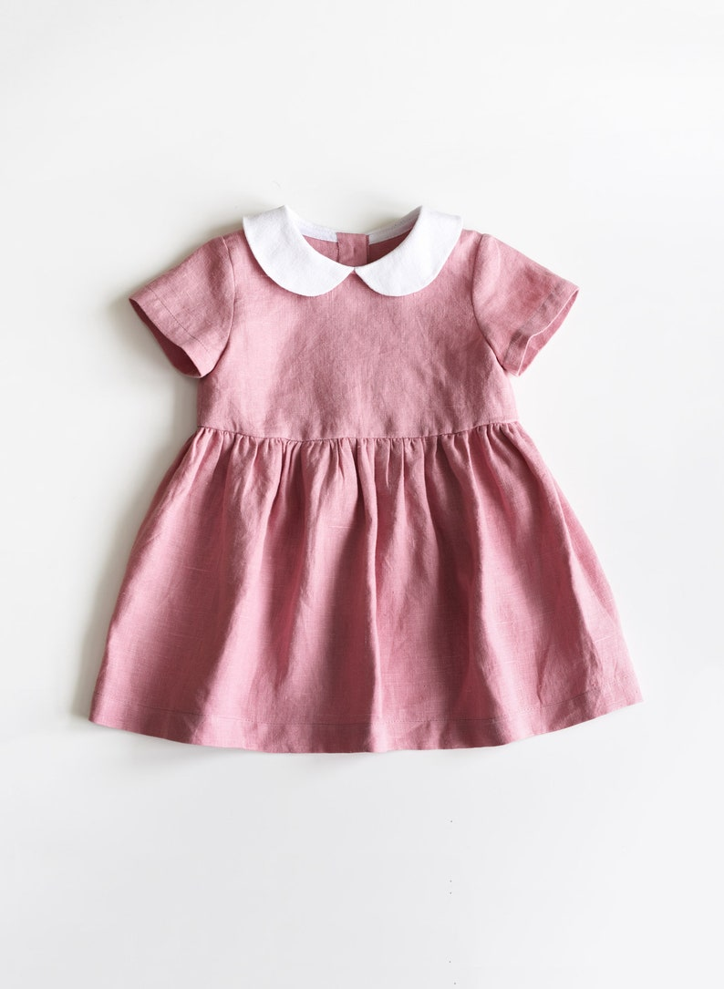 82789f252695 Baby Linen Dress Toddler Linen Dress Baby Girl Clothes Rose