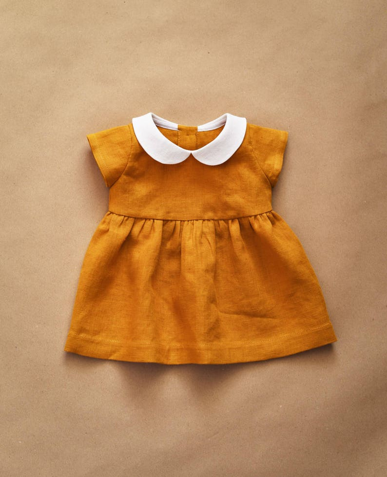 7c6a2041f2a7 Linen Dress Baby Dress Peter Pan Collar Mustard Linen Baby