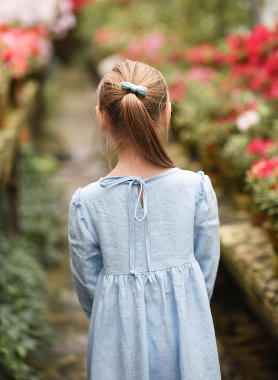 Flower Girl Dress Easter Toddler Dress Long Sleeves Linen Dress Girl Linen Dress Spring Dress Artichoke Green Dress