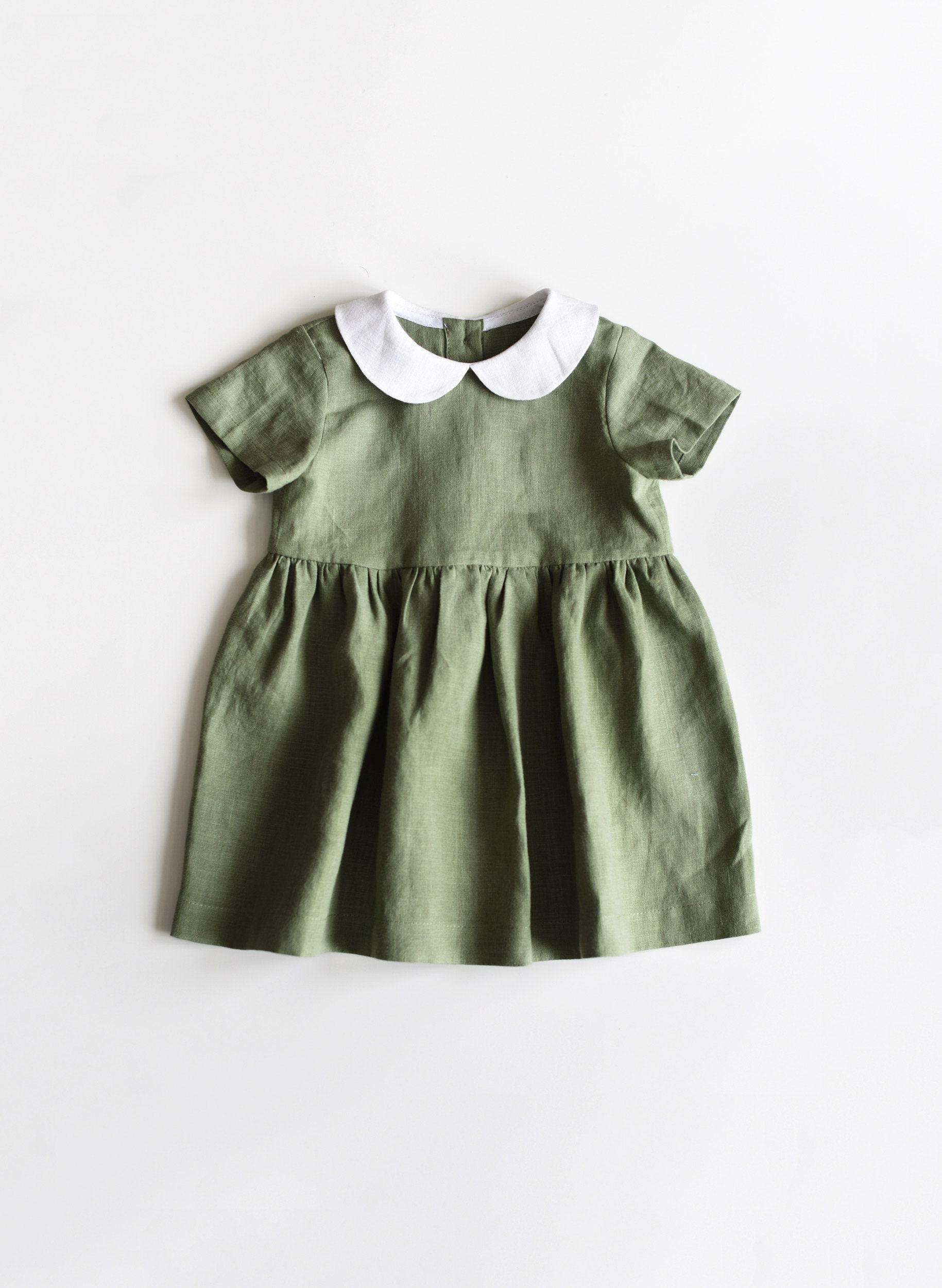 b685f9450545 Linen Dress Baby Dress Linen Baby Dress Toddler Dress Sage   Etsy