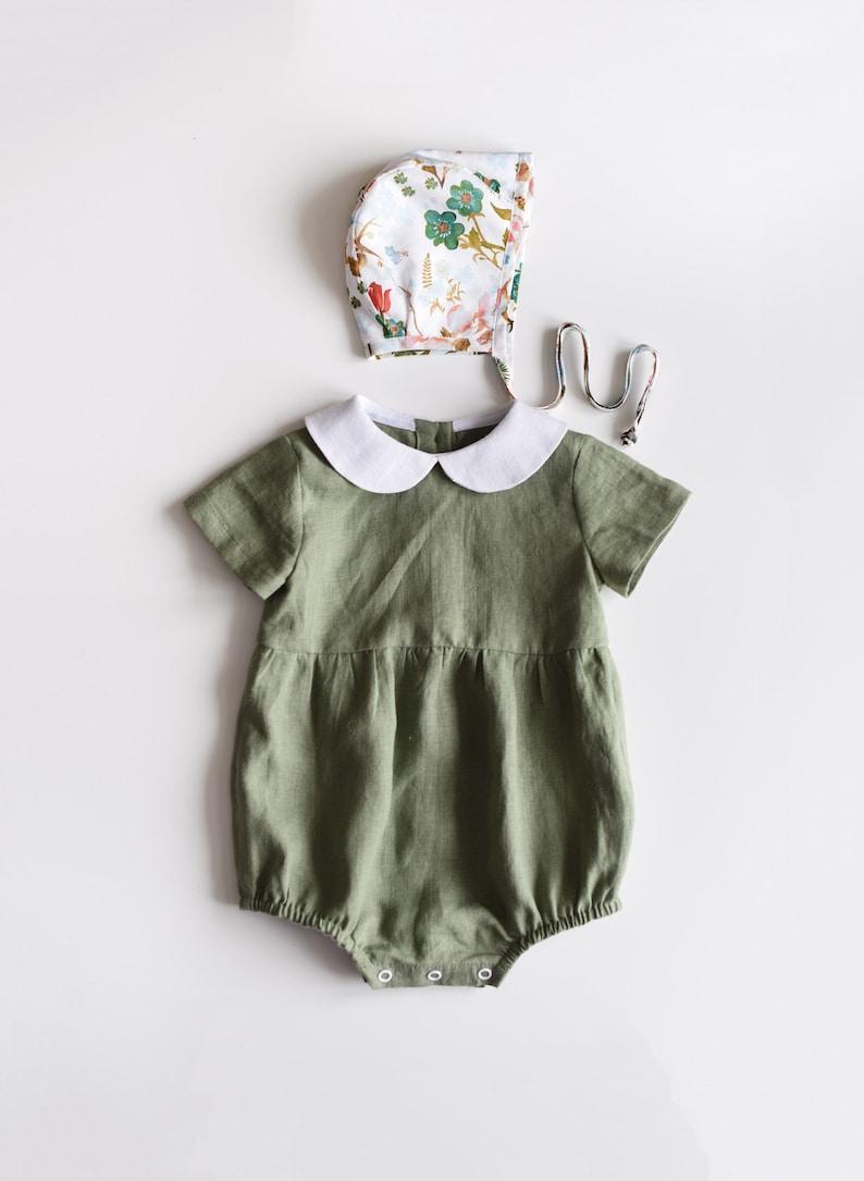 Baby Romper Baby Outfit Girl Linen Baby Linen Romper Sage Green Peter Pan Collar Baby Clothes Toddler Romper Linen Romper