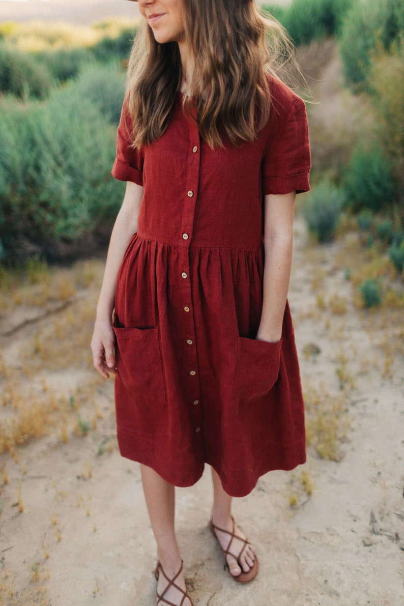1920s Day Dresses, Tea Dresses, Mature Dresses with Sleeves Linen Women Dress Loose Summer Dress Short Sleeve Dress Button Down Dress with Pockets Rust Midi Linen Maternity Oversized Dress $94.00 AT vintagedancer.com