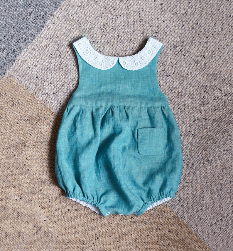 Deep Red Romper Baby First Christmas Outfit Baby Girl Clothes Wahsed Linen Peter Pan Collar Toddler Romper Linen Baby Romper