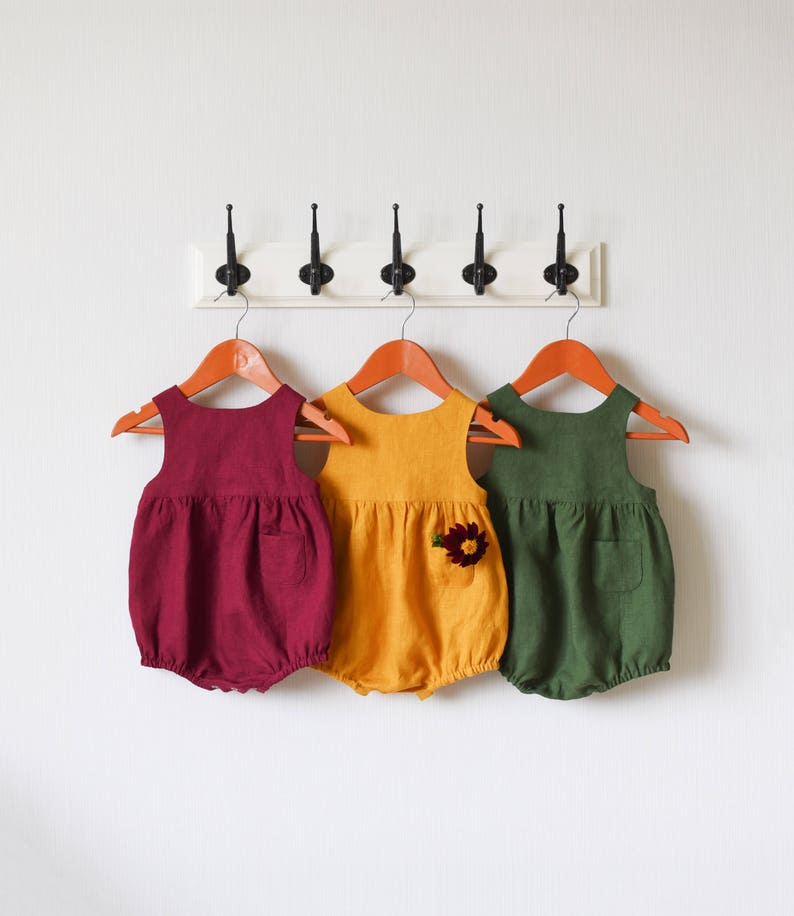 2e73347ca645 Baby Romper Linen Baby Romper Autumn Outfit Mustard