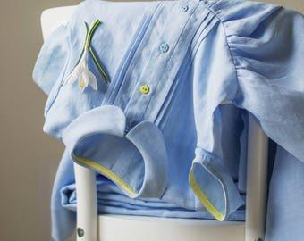 Linen Dress Girls, Linen Dress, Blue Linen Dress, Toddler Dress, Classic Girl Dress, Blue Dress Girl, Girl Dress Summer, Blue Linen