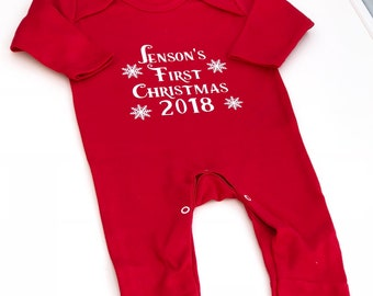 personalised red babys first christmas babygrow christmas pajamas