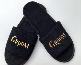 823c10fc8c743 Groom black slippers