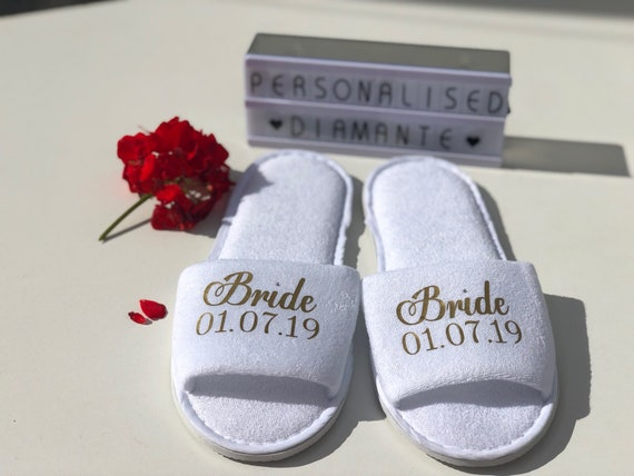 9deefe4650079 Mother of the Bride slippers with gold wording other roles