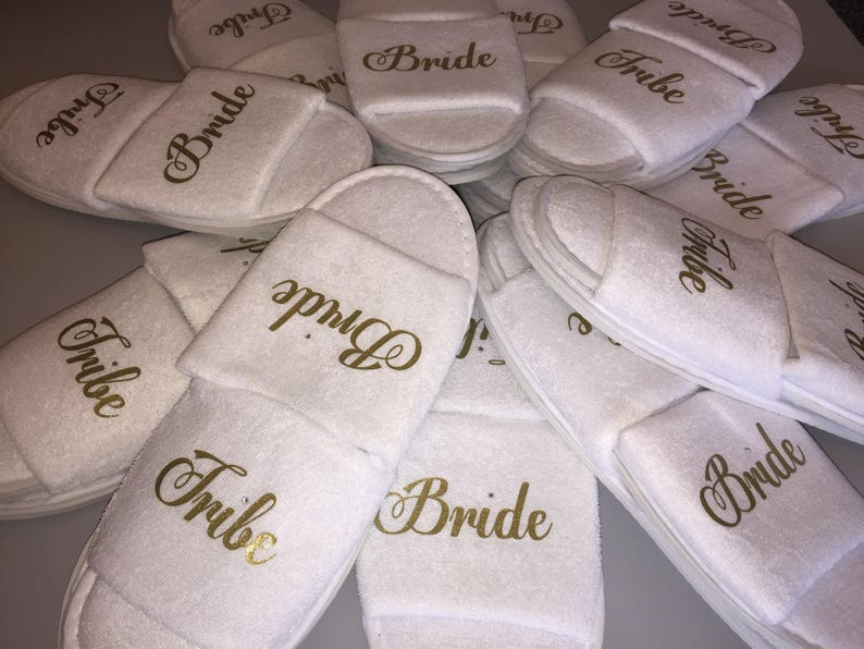 6b4e3362acb8f Bride tribe slippers, Bride slippers, Bride crew slippers, spa day  slippers, Bride tribe gift, Bridesmaid, Maid of honour slippers, Bride