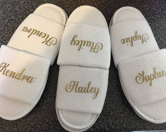 Personalised slippers, bridesmaid slippers, hen party slippers, spa day slippers, bridemaid slippers, mother of the bride slippers