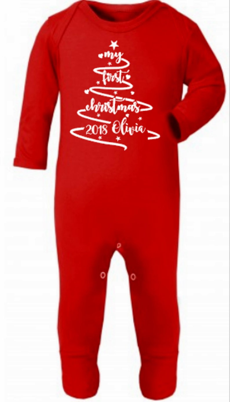 Personalised First Christmas 2019 Babygrow Red Girls Boys Christmas Vest 2