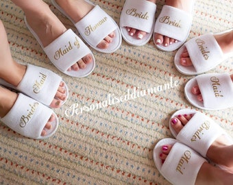 Bride slipper, Bridesmaid slippers, Hen party slippers, Spa day slippers, Bridesmaid gift, Mother of the bride slippers, Flower